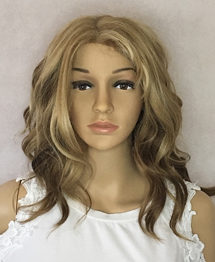 Curly Blonde with Brown and Black Highlights Wig