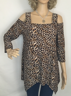 Leopard Print Cold Shoulder Shirt.