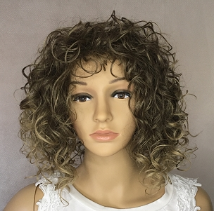 Curly Brown with light Blond Highlights Wig