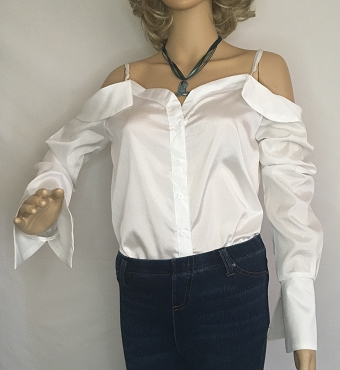 Silky White Off The Shoulder Shirt
