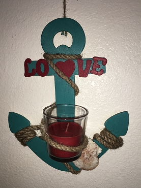 Love Green Anchor with CandleLove