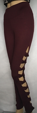 Burgundy Designer Stretch Pants. Small