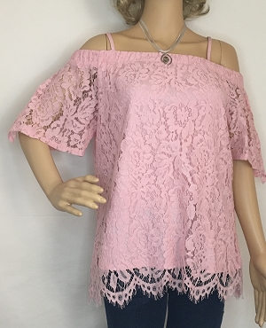 Pink Lace off the Shoulder Shirt