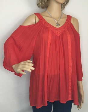 Red Cold Shoulder Shirt